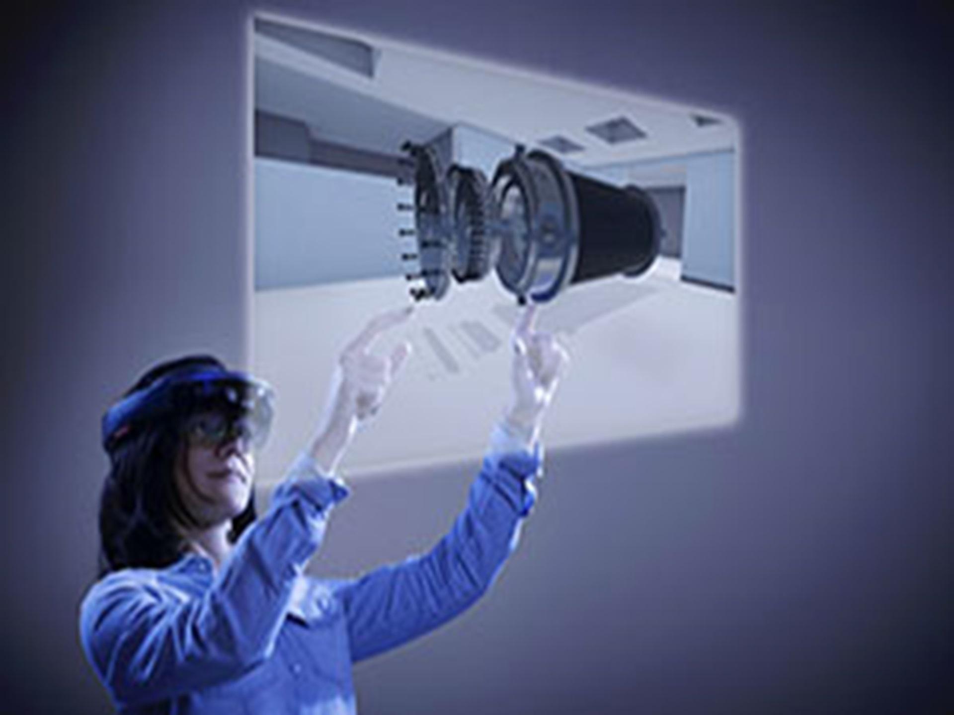 Femme qui utilise la réalité virtuelle, avec un casque VR. TNG3
