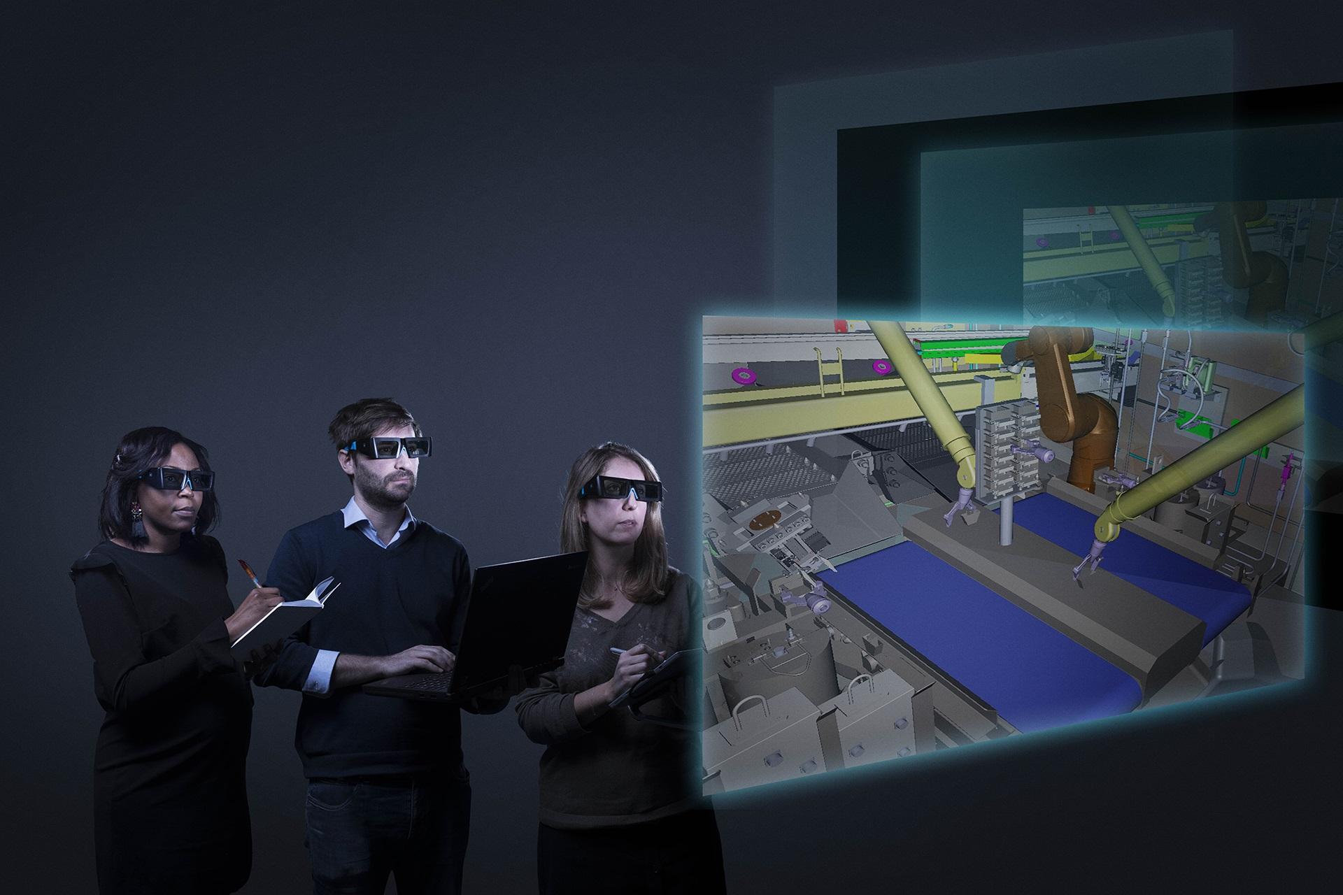 Collaborateurs utilisant la réalité augmentée afin de manipuler, observer et analyser des projets d'ingénierie