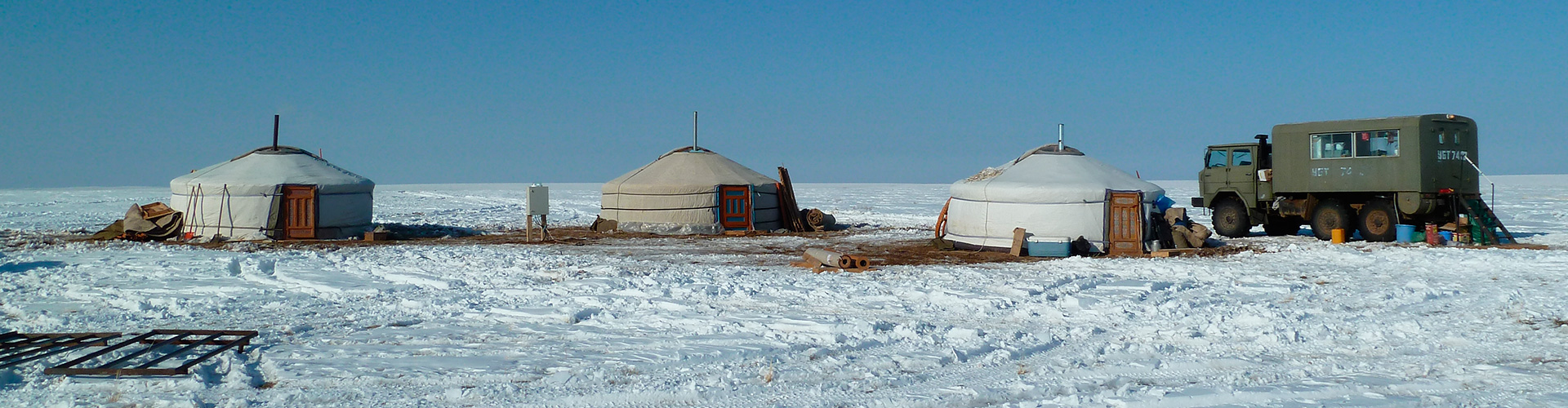 Exploration Camp in Dariganga during the winter.