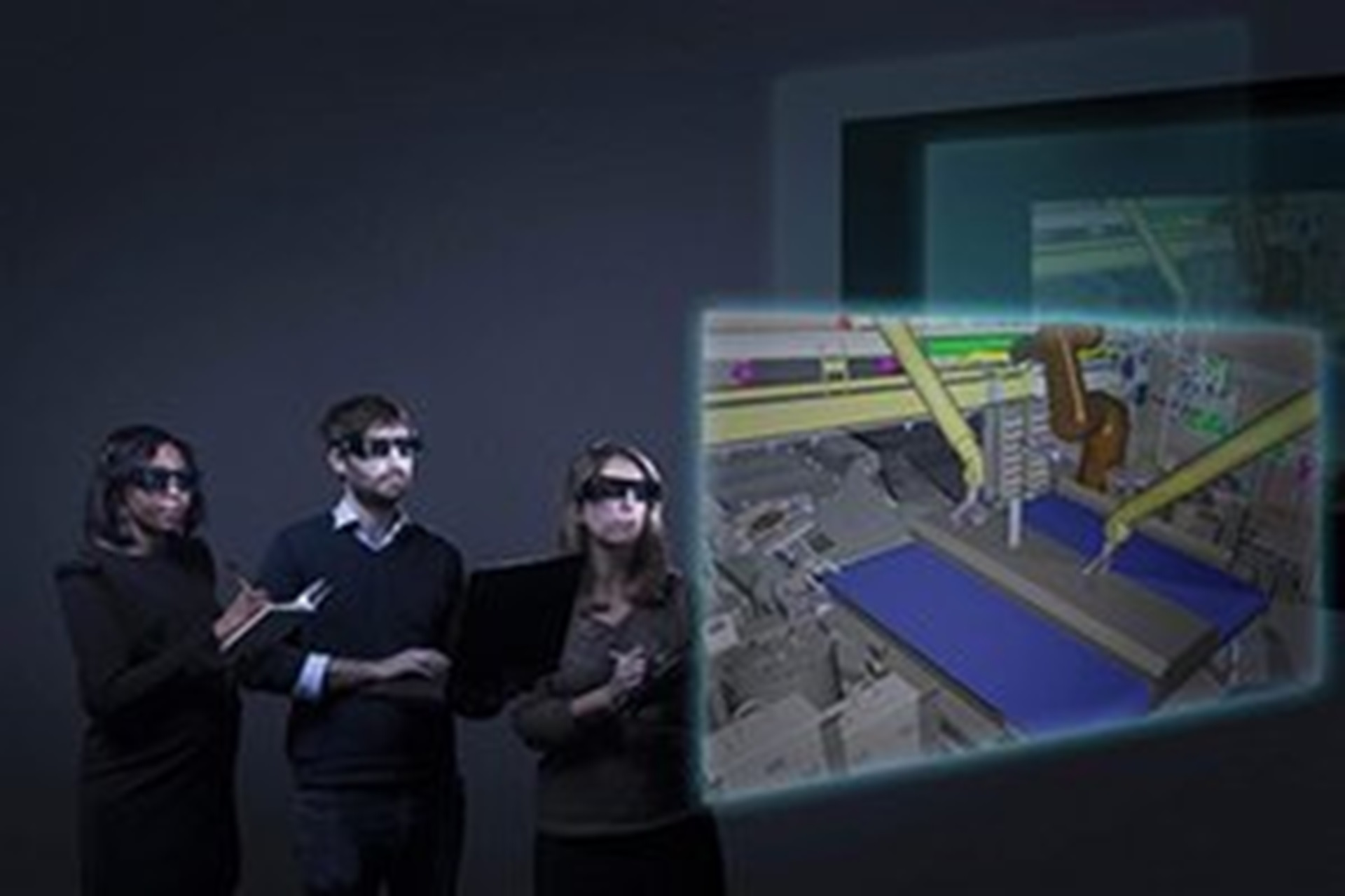 Man and woman using augmented reality in order to manipulate, observe and analyze engineering projects.